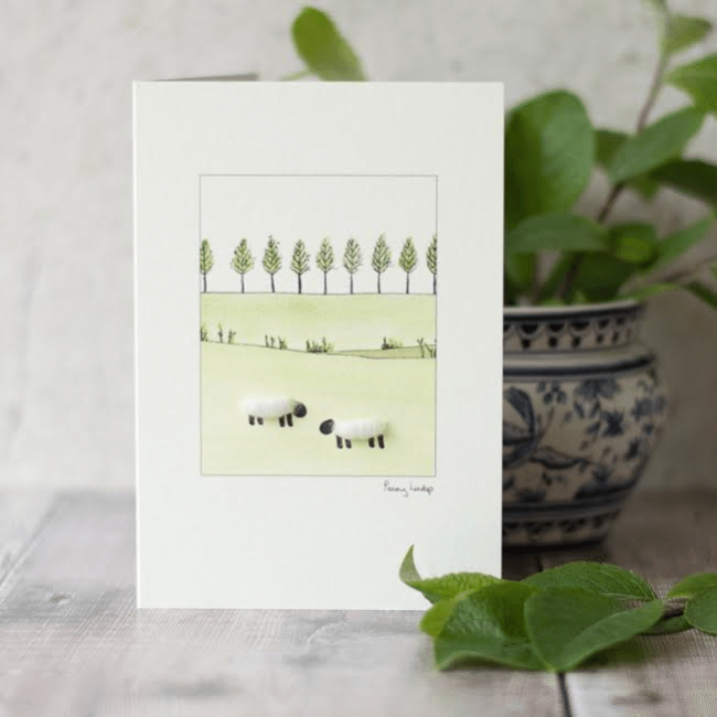 White Sheep Card - line of little trees
