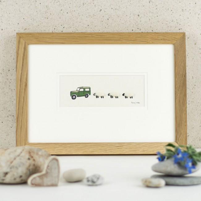 Sheep and Land Rover Print