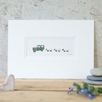 Land Rover and 3 Woolly Sheep Print - Small