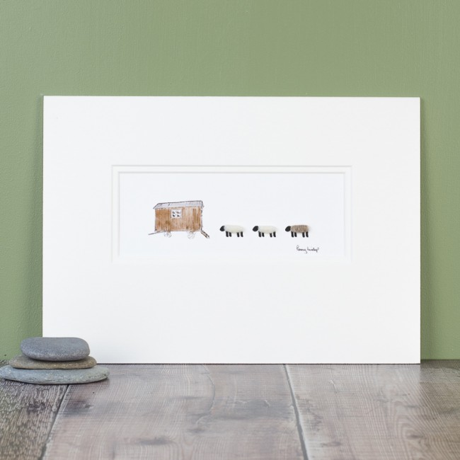 Sheep and shepherd's hut Print