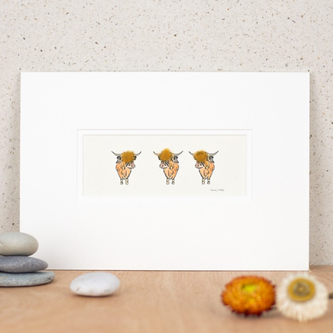Highland Cows Print - 3 in a row