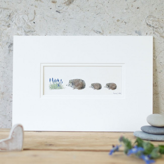 Hedgehogs and Flowers Print