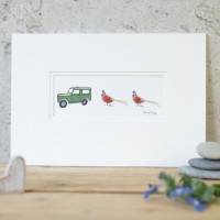 Pheasants and Land Rover Print