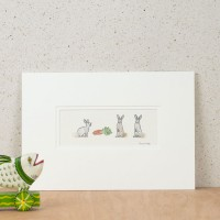 Rabbits & Carrot Print - Small