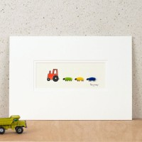 Nursery Tractor & Sheep Print - Red