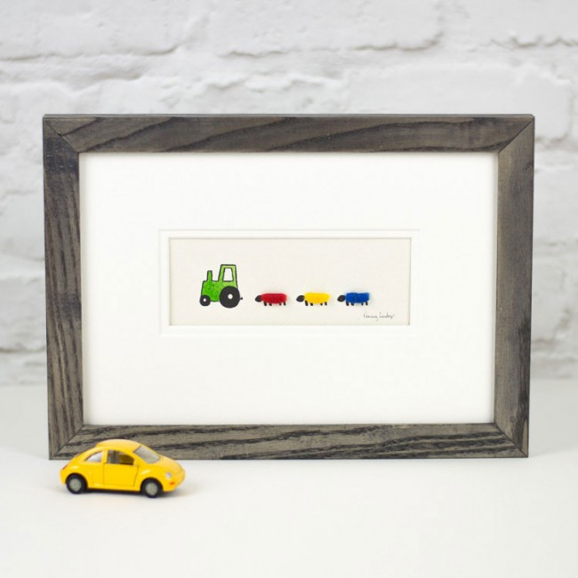 Nursery Tractor & Sheep Print - Green