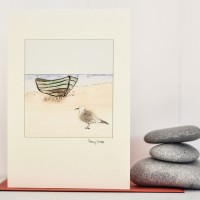Fishing Boat & Gull Card
