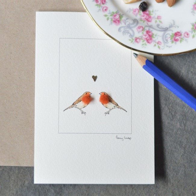 Robins & Heart Card