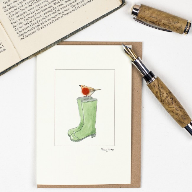 Robin on Wellies Card