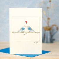 Budgies in Love Card