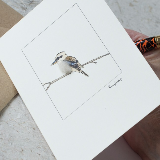 Kookaburra Card on a branch.