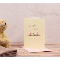 New baby card with fluffy birds - 'It's a Girl'