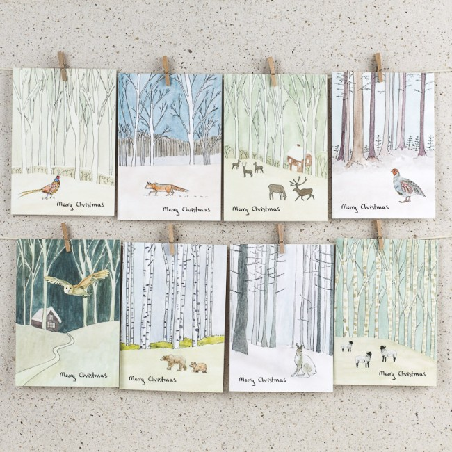 Winter Woodland Christmas Cards - Boxed Set of 8