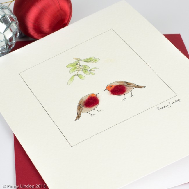 Robin and Mistletoe Christmas Card