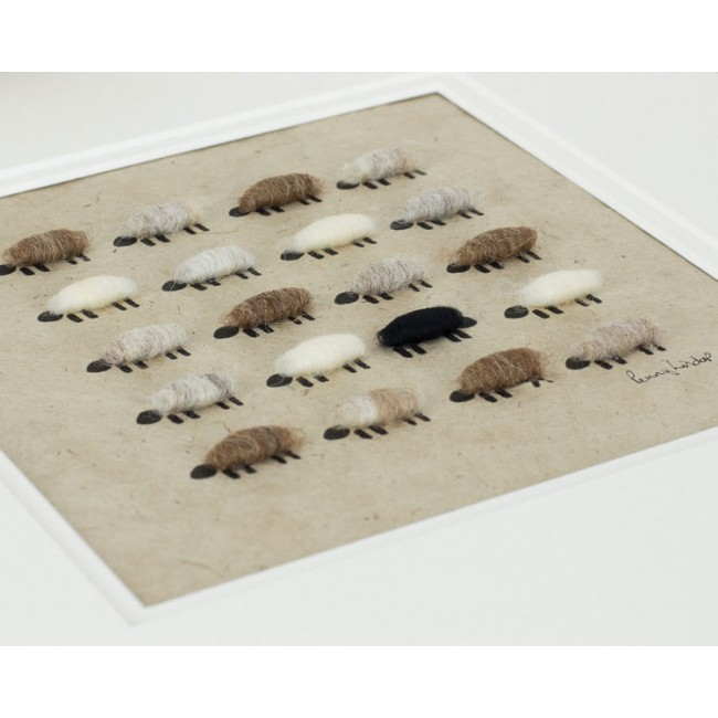 Natural Flock of Sheep Print - Square