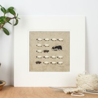 Border Collie Herding Sheep Print