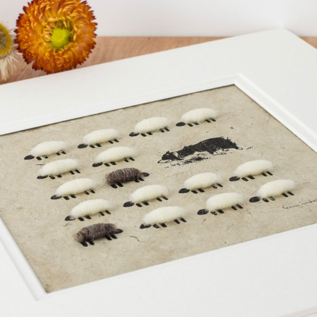 Collie Herding Sheep Print