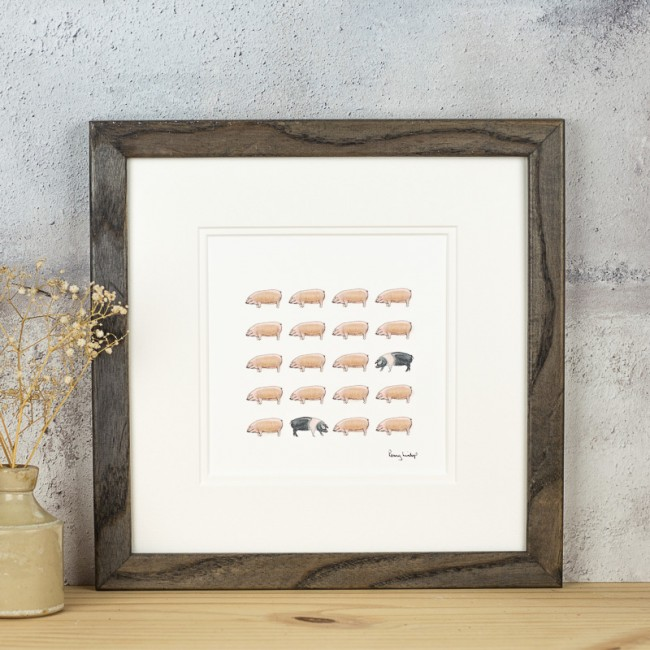 Pigs print with 20 pigs