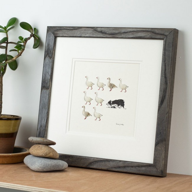 Geese and border collie print