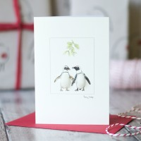 Penguins & Mistletoe Christmas Card