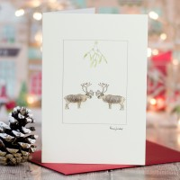 Reindeer  Beneath Mistletoe Christmas Card