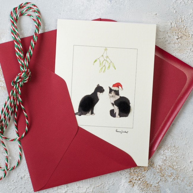 Cat Christmas Card - black and white cats