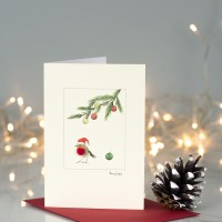Robin under a pine sprig Christmas card