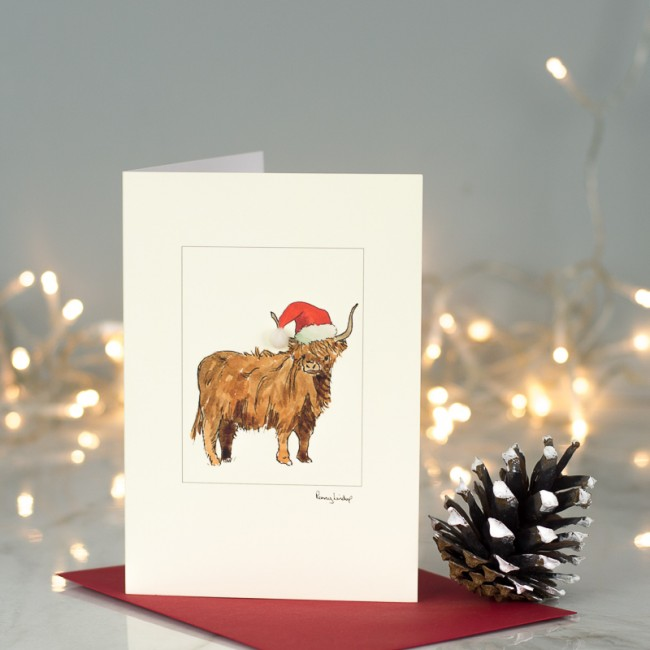Highland cow in hat Christmas card