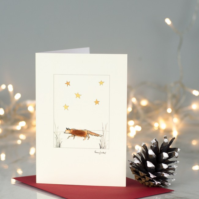 Fox under the stars Christmas card