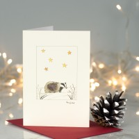 Badger under the stars Christmas card