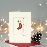Red Squirrel in a Stocking Christmas Card