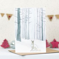 Scandi Winter Woodland Arctic Hare Christmas Card