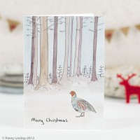 Scandi Winter Woodland partridge Christmas Card