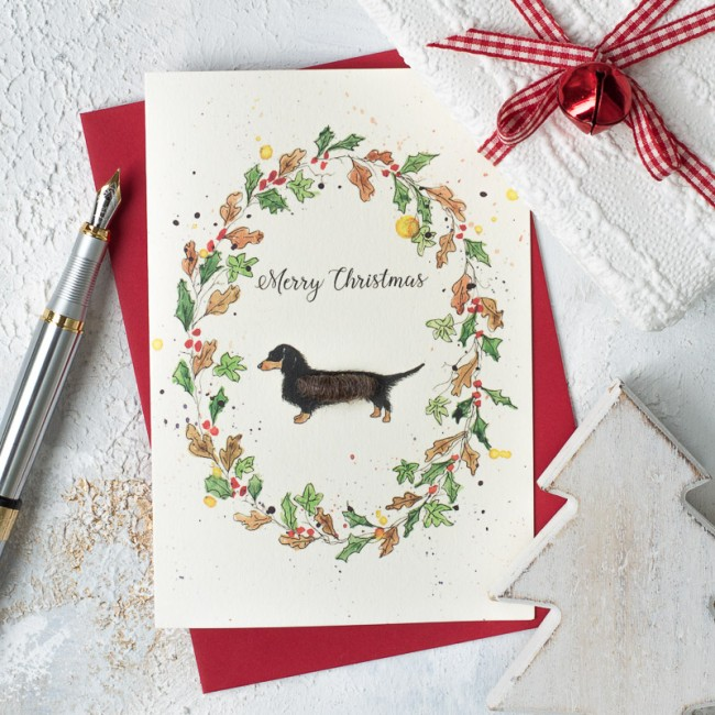 Dachsund and wreath Christmas card