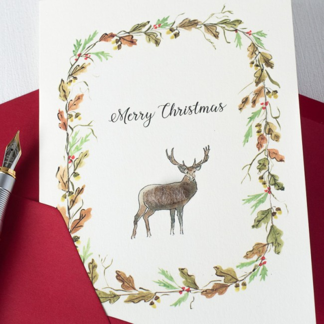 Stag and wreath Christmas card