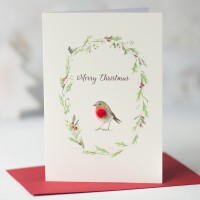 Robin and wreath Christmas card