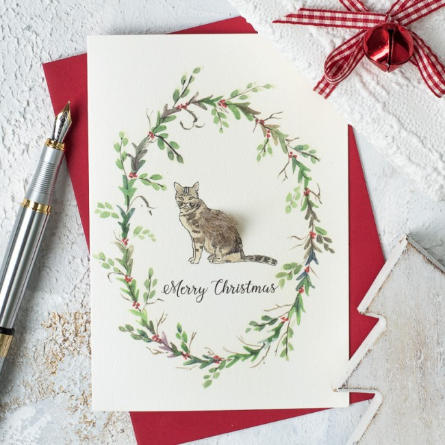 Cat and wreath Christmas card