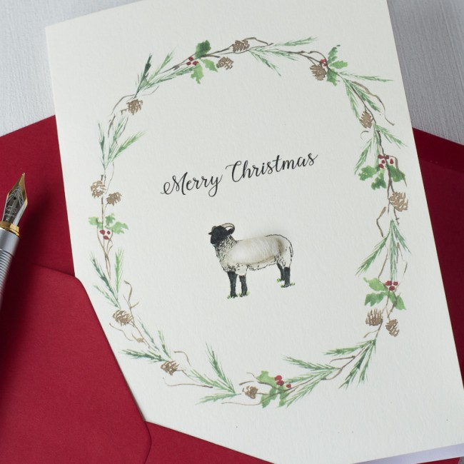 Sheep and wreath Christmas card
