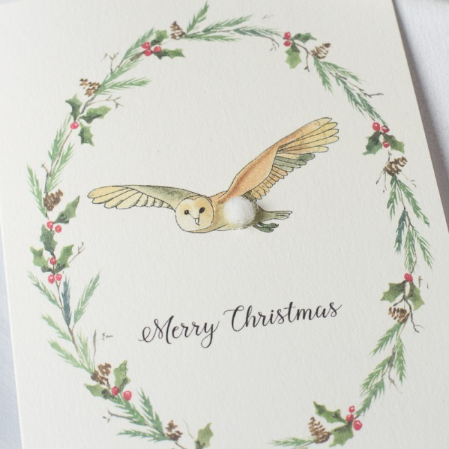 Owl and wreath Christmas card