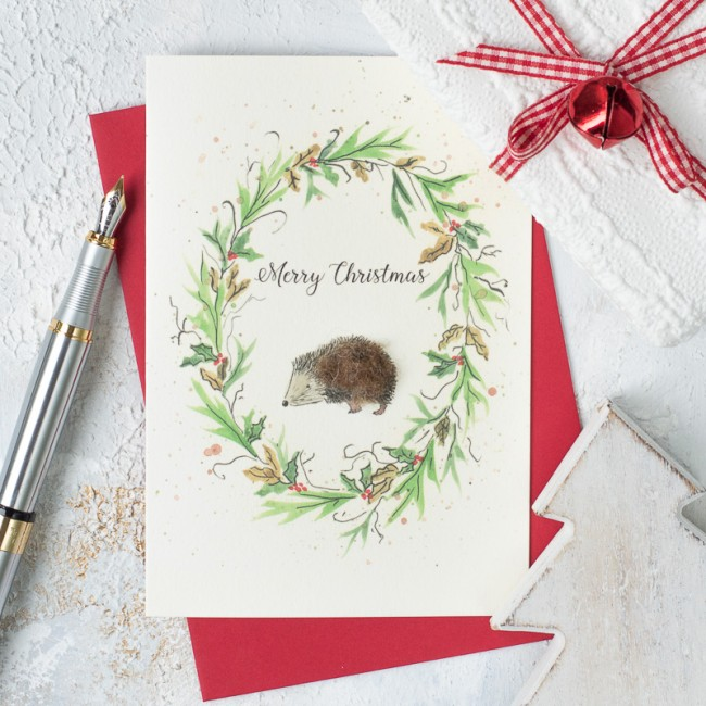 Hedgehog and wreath Christmas card