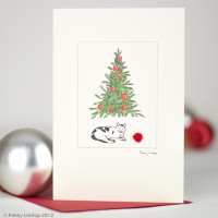 Cat and tree Christmas Card