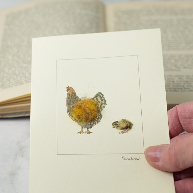 Chicken Card - Gold Laced Wyandotte hen and Chick