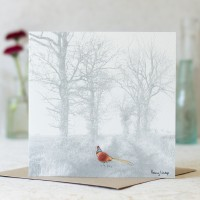Greeting card - pheasant on track