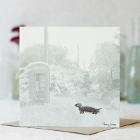 Dog Photographic Card with a Dachshund and Phonebox