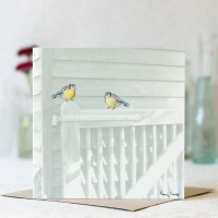 Birds Photographic Card with Bluetits