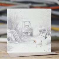 Dog Photographic Card with a Jack Russell and Old Tractor
