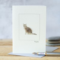 Cat Card - Sitting Tabby Cat