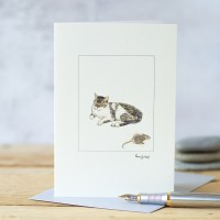 Cat Card - Grey and White Cat and Mouse