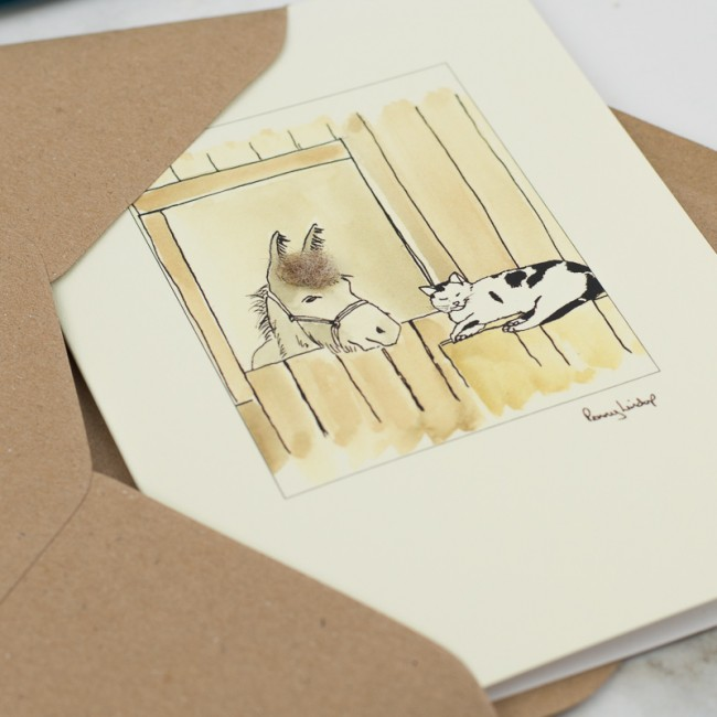 Cat & Donkey In Stable Card