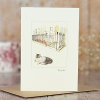 Cat Card - Grey and White Cat